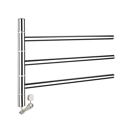 (BSWOME Fashion 3-Bar Towel Warmer and Drying Rack, Heated Stainless Steel Swing Out Towel Bar Folding Arm Swivel Hanger Bathroom Storage Organizer Rustproof Wall Mount)