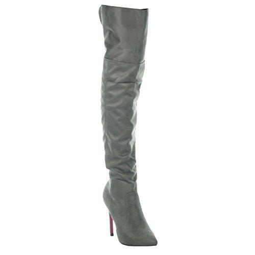 Angkorly - Damesko Lår-boot - Sexy - Stilethæl - Klassiske Stilethæl 10,5 Cm Grå