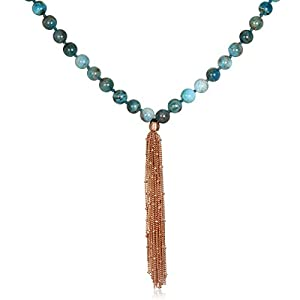 Satya Jewelry Women's Apatite Rose Gold Lotus Mala Tassel Necklace 40-inch, Blue, One Size