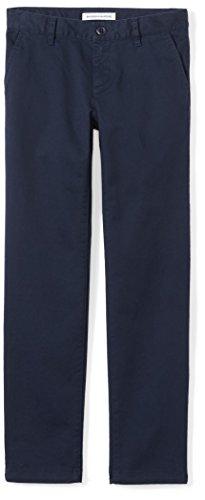 Navy Girls Flat Front Pant - Amazon Essentials Big Girls' Flat Front Uniform Chino Pant, Navy,8