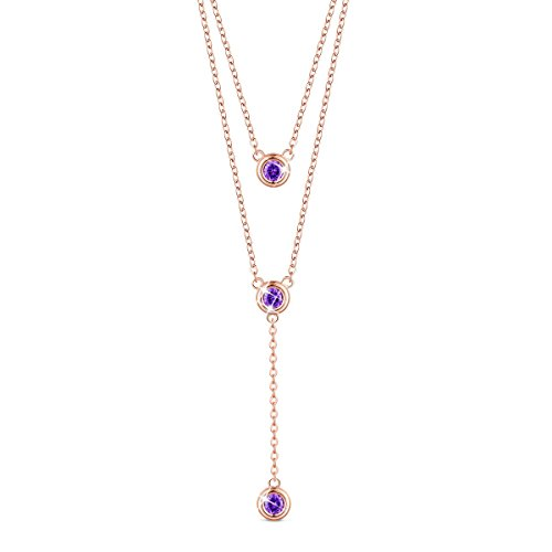 (SHEGRACE 925 Sterling Silver Double Layered Necklace, with Three Round AAA Zircon Pendant 16