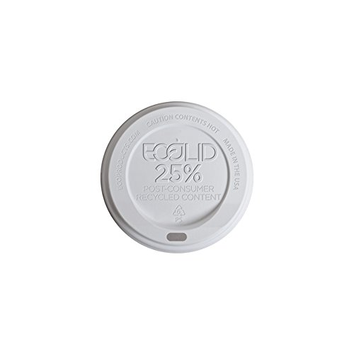 Eco-Products - EcoLid 25% Recycled Content White Hot Cup Lid - Fits 10-20oz Hot Cups - EP-HL16-WR (10 Packs of 100) - Eco Products Hot Cup
