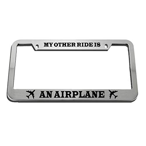 Speedy Pros My Other Ride is an Airplane Zinc Metal License Plate Frame Car Auto Tag Holder - Chrome 2 - Car Is Plate Other My License