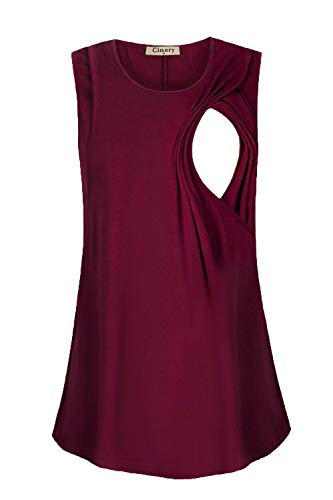 Cinery Summer Nursing Shirts, Women Sleeveless Nursing Top Layered Side Up Breastfeeding Tank Top Breathable Cotton Comfy Scoop Neck A Line Double Layers (Wine S)