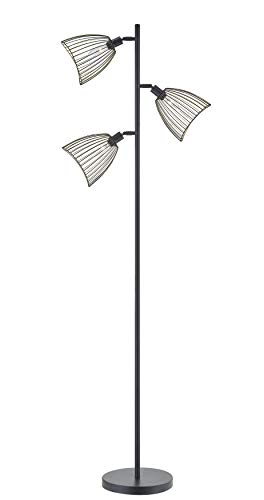 Home Decorators Modern Floor Lamp - LeeZM Modern Floor Lamp, Black Tall Stand Up Lamp 3-Head Torchiere Lamp Rustic Industrial Style Standing Lighting Tree Floor Lamp for Living Room,Bedrooms, Office with Reading Light, 3 Bulbs Included