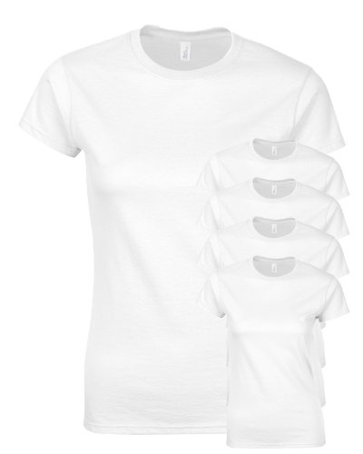 Gildan Junior-Fit Softstyle Sports T-Shirt, White, Small. (Pack of