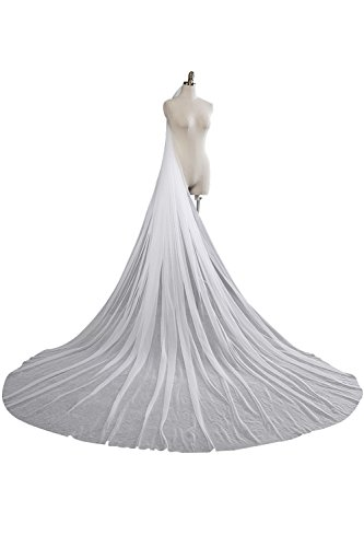 Elegent 1T Long Length Wedding Bridal Veil One Size With Comb,White (Tulle Veil)