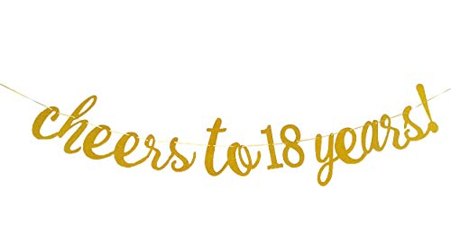 E&L Cheers to 18 Years Banner - Happy 18th Birthday Party Decorations - 18th Wedding Anniversary Decorations -