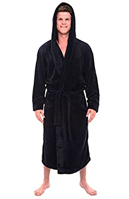 Del Rossa Men's Fleece Robe, Long Hooded Bathrobe