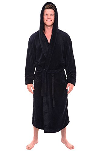 Del Rossa Men's Fleece Robe, Long Hooded Bathrobe, Small Medium Black (A0125BLKMD) (Male Robes)