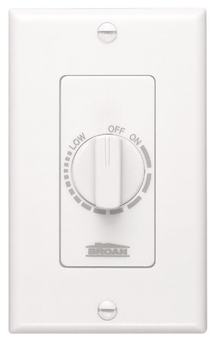 (NuTone Variable Speed Wall Control for Ventilation Fans, Dial Knob Control, 3 Amp., 120V, White)