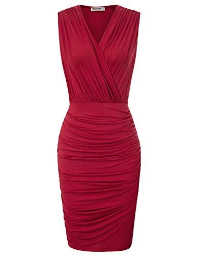 GRACE KARIN Women Sexy Wrap Pencil Cocktail Mini Dresses High Waist M Wine Red 1
