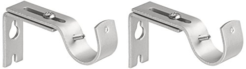 AmazonBasics Adjustable Curtain Rod Wall Bracket Hooks, Set of 2, Silver Nickel