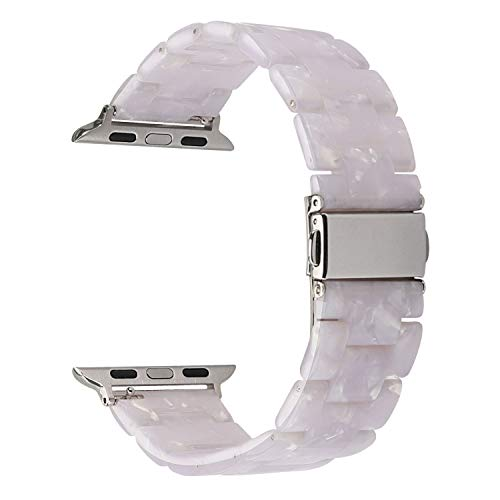 MAIRUI Compatible with Apple Watch Band 40mm 38mm, Series 4/5 Slim Resin Bracelet Wristband Lightweight Strap Replacement for iWatch Series 5/4/3/2/1, Sport/Edition (Pearl White)