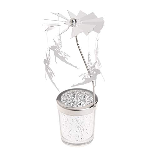 Poity Candle Holder, Rotary Spinning Tealight Candle Metal Tea Light Holder Carousel Home Decoration - Angel