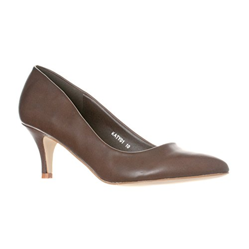 (Riverberry Women's Katy Pointed, Closed Toe Low, Kitten Heel Pumps, Coffee PU, 6.5)