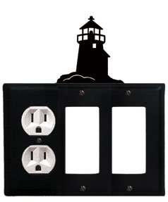 EGGS-22 Moose and Pine Trees Double GFI and Switch Electric Wall Plate with Silhouette
