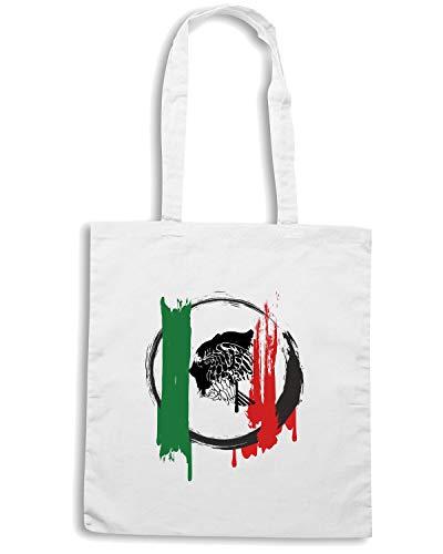 Speed Shirt Borsa Shopper Bianca TM0165 BANDERAGRUNGEMEXICANA FLAG
