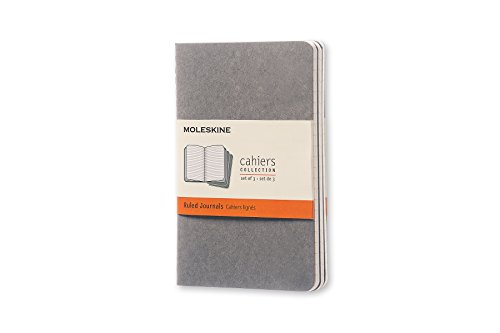 Moleskine Cahier Soft Cover Journal, Set of 3, Ruled, Pocket Size (3.5 x 5.5) Pebble Grey - for Use as Journal, Sketchbook, Composition Notebook