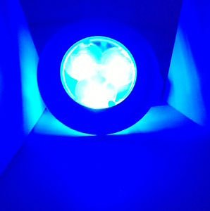 MARINE BOAT BLUE LED STAINLESS STEEL HOUSING ROUND COURTESY (Blue Marine Housing)
