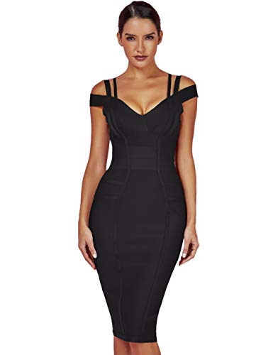 Whoinshop Women's Rayon Sexy V Neck Bodycon Clubwear Party Bandage Dress (M, Black) ()
