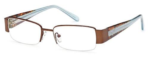 Women's Semi-Rimless Brown Glasses Frames Prescription Eyeglasses Size 53-17-135
