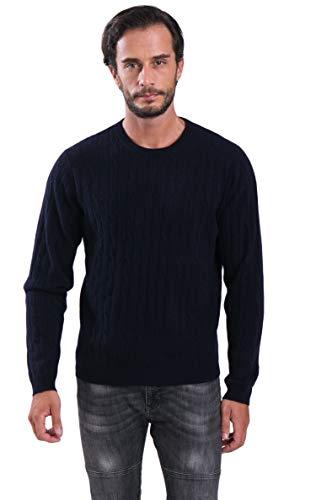 cashmere 4 U Men's 100% Cashmere Crewneck Sweater Cable Knit Pullover Navy - Cable Sweater Crewneck Cashmere