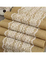 Burlap & Lace Table Runner (White Lace Flower, 12x120 Inches) Jute Hessian Country Outdoor Wedding Party Table Decoration Décor ,Custom Length Available]()