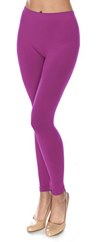 Basic Solid Full Length Footless Tights Leggings Pants - Nylon Premium Quality (One Size (Size 2-10), LG07 Wild (Neon Footless Leggings)