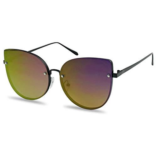 SunglassUP Oversized Rimless Cat Eye Sunglasses Flash Mirror Round Color Flat Lens Shades for Women (Black Frame | Purple) ()