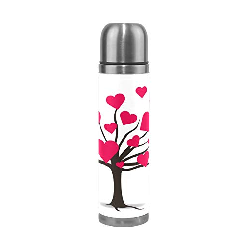 Lilibeely Tree Covered with Love Print Vacuum Insulated Stainless Steel Water Bottle 17 oz Sports Coffee Travel Mug Thermos Flask Genuine Leather Wrapped BPA Free ()