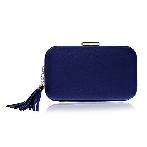 Lzx Women's Elegant Tassel Evening Weave Bag Clutch Purse for Bride Wedding Prom Night Out Party Evening Handbag-Multicolor Selection,Blue