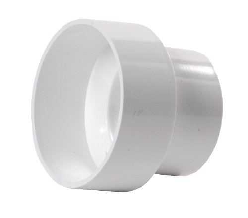 NDS 4P07 PVC Reducer Coupling, Hub by Hub Solvent Weld Fitting, 3-Inch by 4-Inch, White