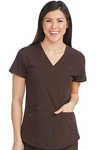 Med Couture Energy Racerback V-Neck Shirttail Scrub Top Women, Chocolate, Small ()