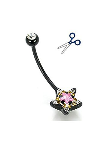 14g Black Flexible BioPlast Pink Star Crystal Explosion Belly Button Jewelry - Cut to your size Crystal Explosion Belly Button