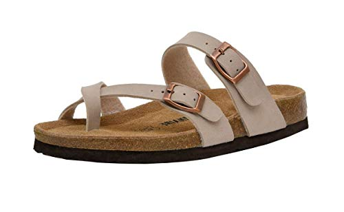 CUSHIONAIRE Women's Luna Cork Footbed Sandal with +Comfort, Stone,6