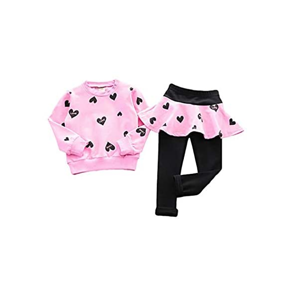 DDSOL Little Girls Clothing Set Outfit Heart Print Hoodie Top+Long Pantskirts 2pcs