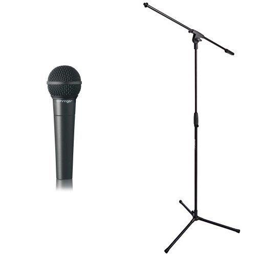 Behringer Ultravoice XM8500 Dynamisches Gesangsmikrofon mit Nierencharakteristik + AmazonBasics Dreibein-Mikrofonständer mit Galgen Bundle