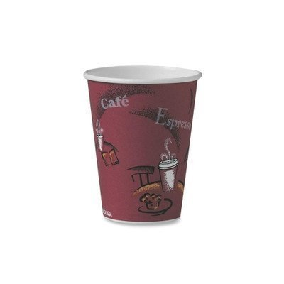 SOLO 214 Single-Sided Poly Paper Hot, 12 oz. Capacity, Bistro (100 Cups), Red (Hot Pak)