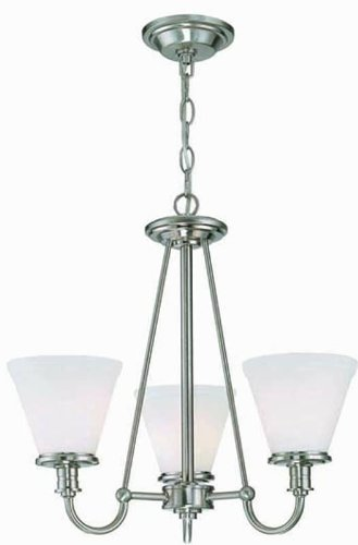 Lite Source LS-19653PS/FRO Bastien 3-Lite Chandelier, Polished Steel with Frost Glass Shade ()