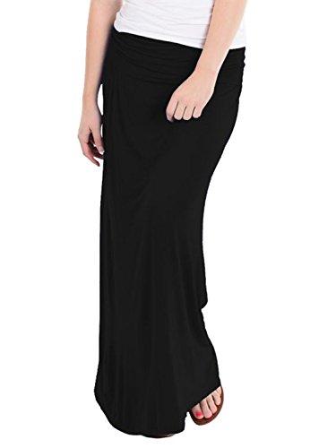 H & C Women Versatile Fold Over Waist Maxi Skirt/Convertible Dress