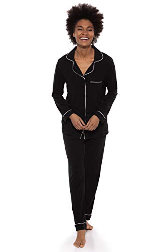 Texere Women's Button-Up Long Sleeve PJs (Classicomfort, Black, XL) Nightwear ()