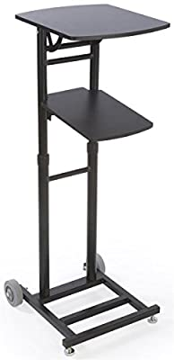 Displays2go Laptop and Projector Stand with Fold into Dolly (Black Steel and MDF) (MPFDCHDPCB)