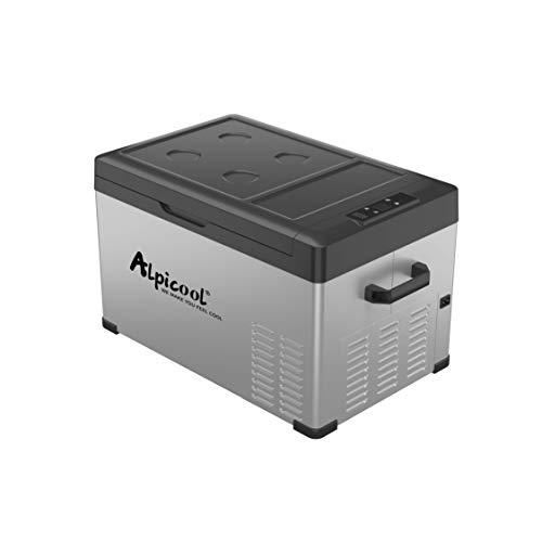 Alpicool C30 Portable Refrigerator 32 Quart(30 Liter) Vehicle, Car, Turck, RV, Boat, Mini Fridge Freezer for Travel, Outdoor -12/24V DC (Black and Silver)