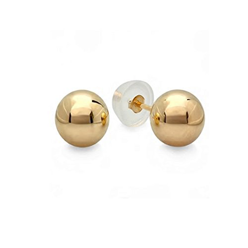 Small 3mm 10k Yellow Gold Ball for Baby and Children Stud Earrings with Silicone covered Gold Pushbacks ()