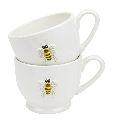 Hand Painted Ceramic Ivory Honey Bee Tea Cups - Set of 4, 11 Oz