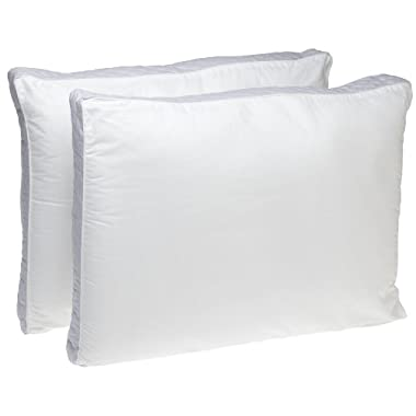Perfect Fit Extra Firm Density Queen Size 233 Thread-Count Quilted Sidewall Pillow 2 Pack, White
