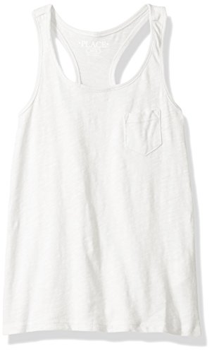 The Children's Place Big Girls' Slub Tank Top, Simplywht, L (10/12) (Girls Top)
