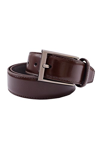 s classic stiched genuine leather dress belt brown