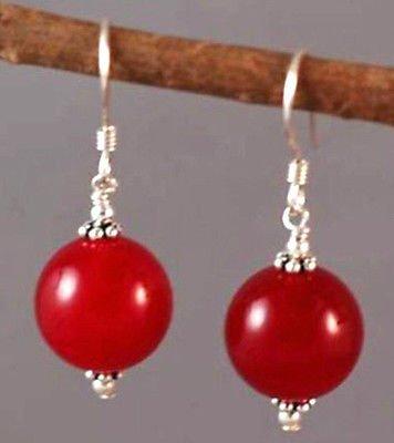 Meenanoom 10mm Red Jade Round Beads Silver Hook Earrings ()